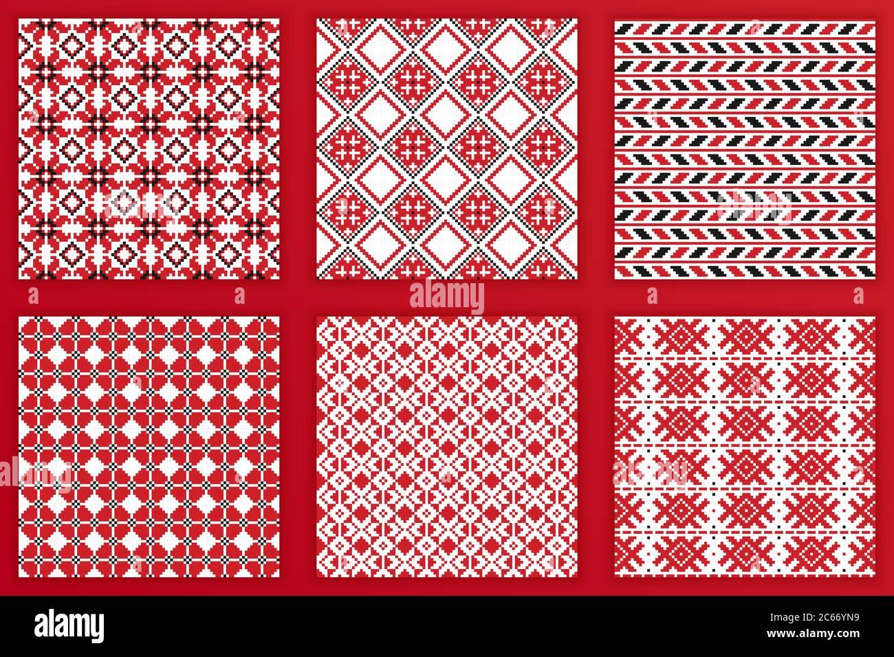 Ensemble de motifs géométriques sans couture slaves. Illustration vectorielle des fonds de broderie slaves tileable pour vos projets de conception Illustration de Vecteur