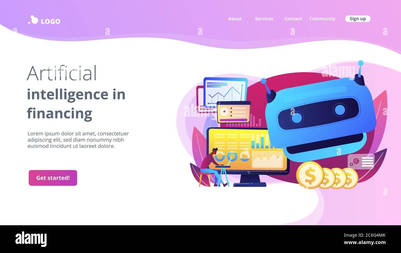 Page d'accueil de l'intelligence artificielle dans le concept de financement. Illustration de Vecteur