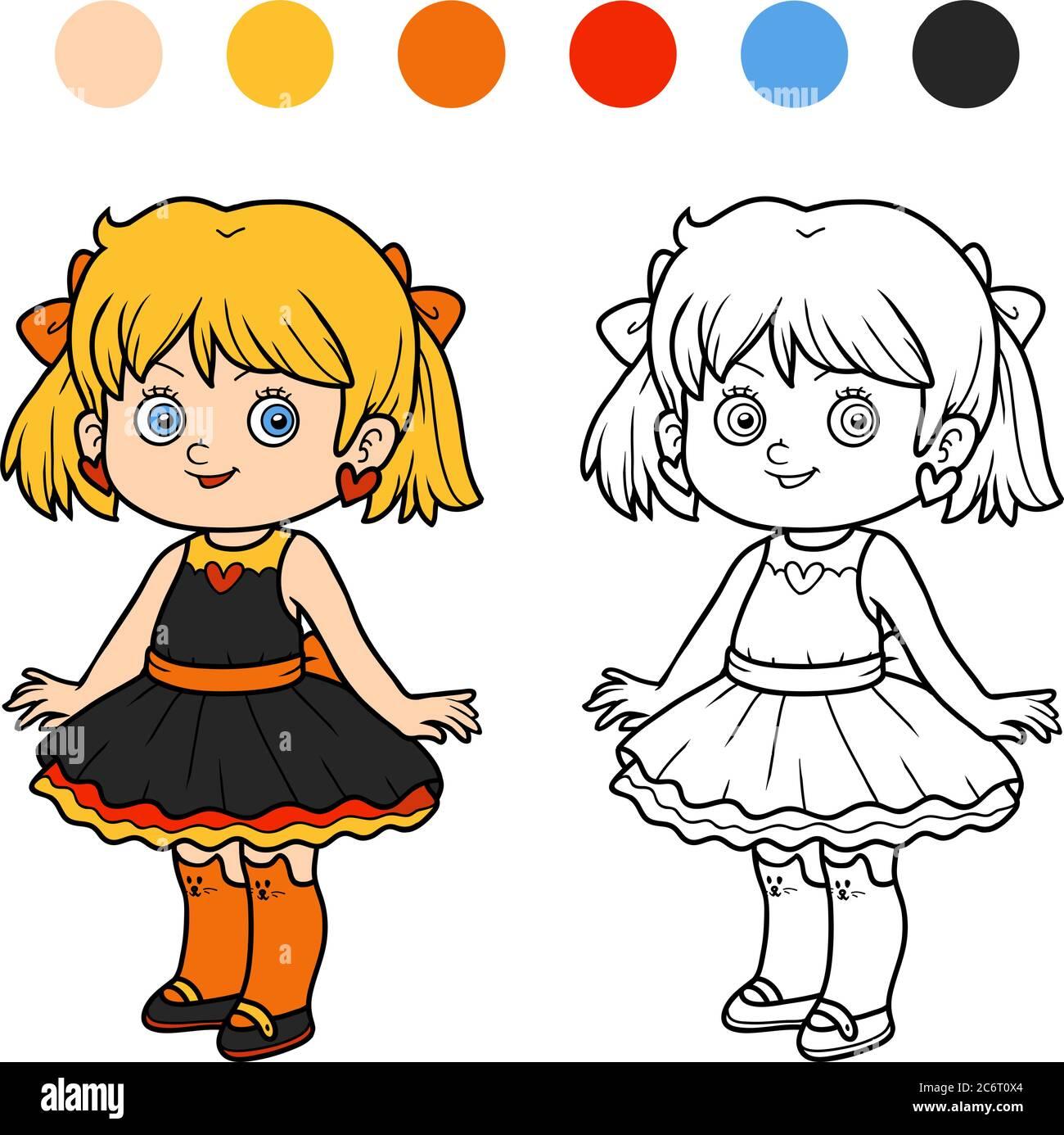Livre de coloriage pour les enfants, fille dans une robe Image ...