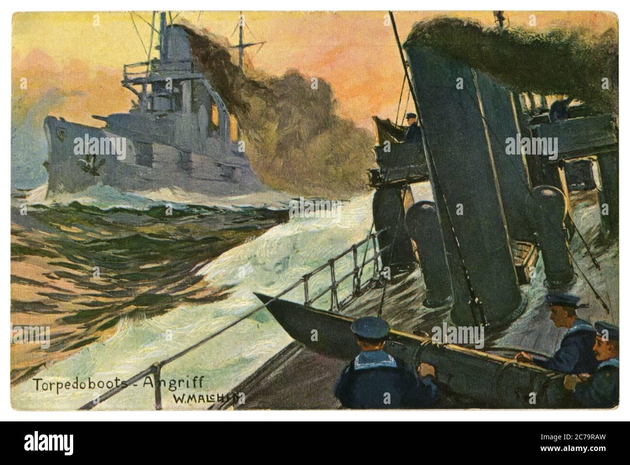 Carte postale historique allemande : attaque de bateaux torpilles. Marins de la Marine à bord d'un navire de guerre au tube de torpille. Bataille de la mer, guerre mondiale un 1914-1918. Allemagne Banque D'Images