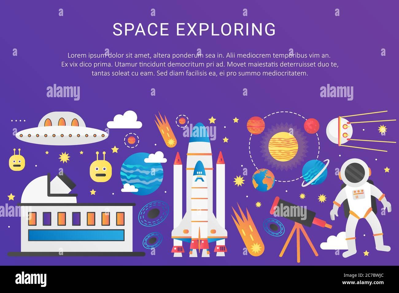 Illustration graphique tendance de l'univers des couleurs à dégradé plat Vector. Vaisseau spatial extra-atmosphérique fusée, système solaire avec planètes, satellites, bannière de modèle de concept d'OVNI avec icônes et texte Illustration de Vecteur
