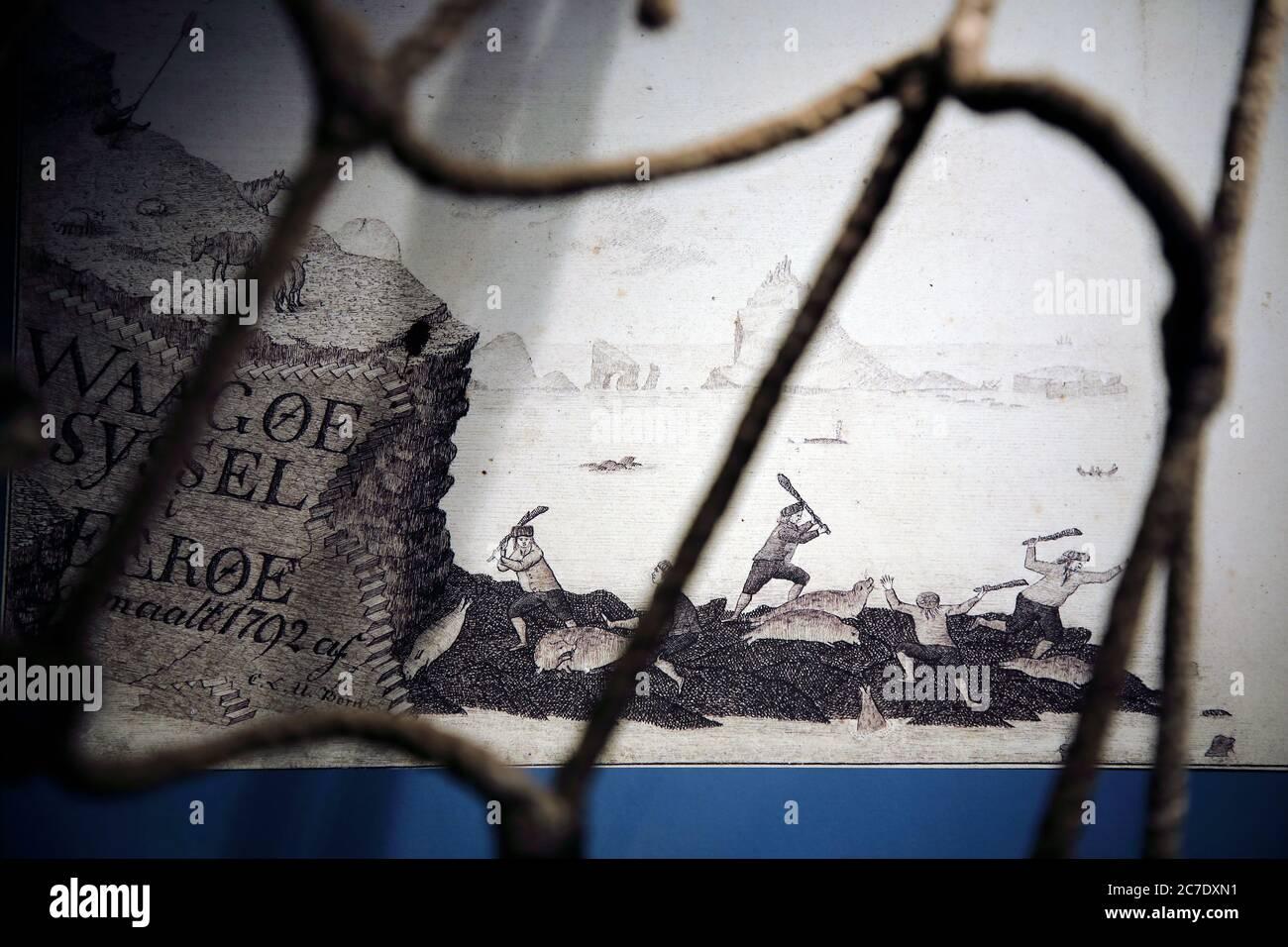 Dessin historique de la scène locale de chasse à la baleine dans le Musée national des îles Féroé.Torshavn.Streymoy.Îles Féroé.territoire du Danemark Banque D'Images
