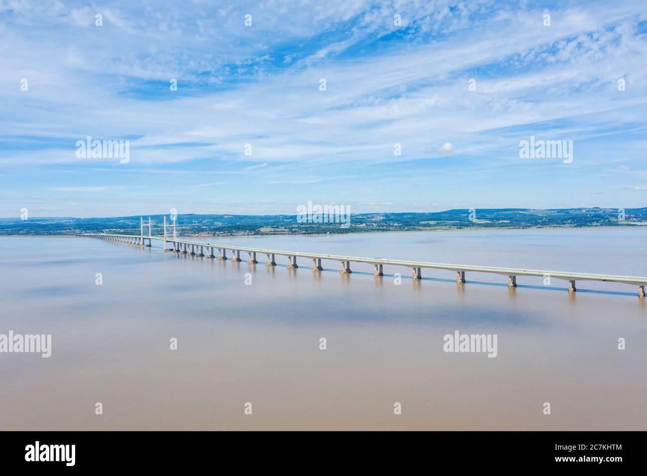 Le deuxième pont de traversée de Severn, au-dessus de l'estuaire de la rivière Severn entre l'Angleterre et le pays de Galles Banque D'Images
