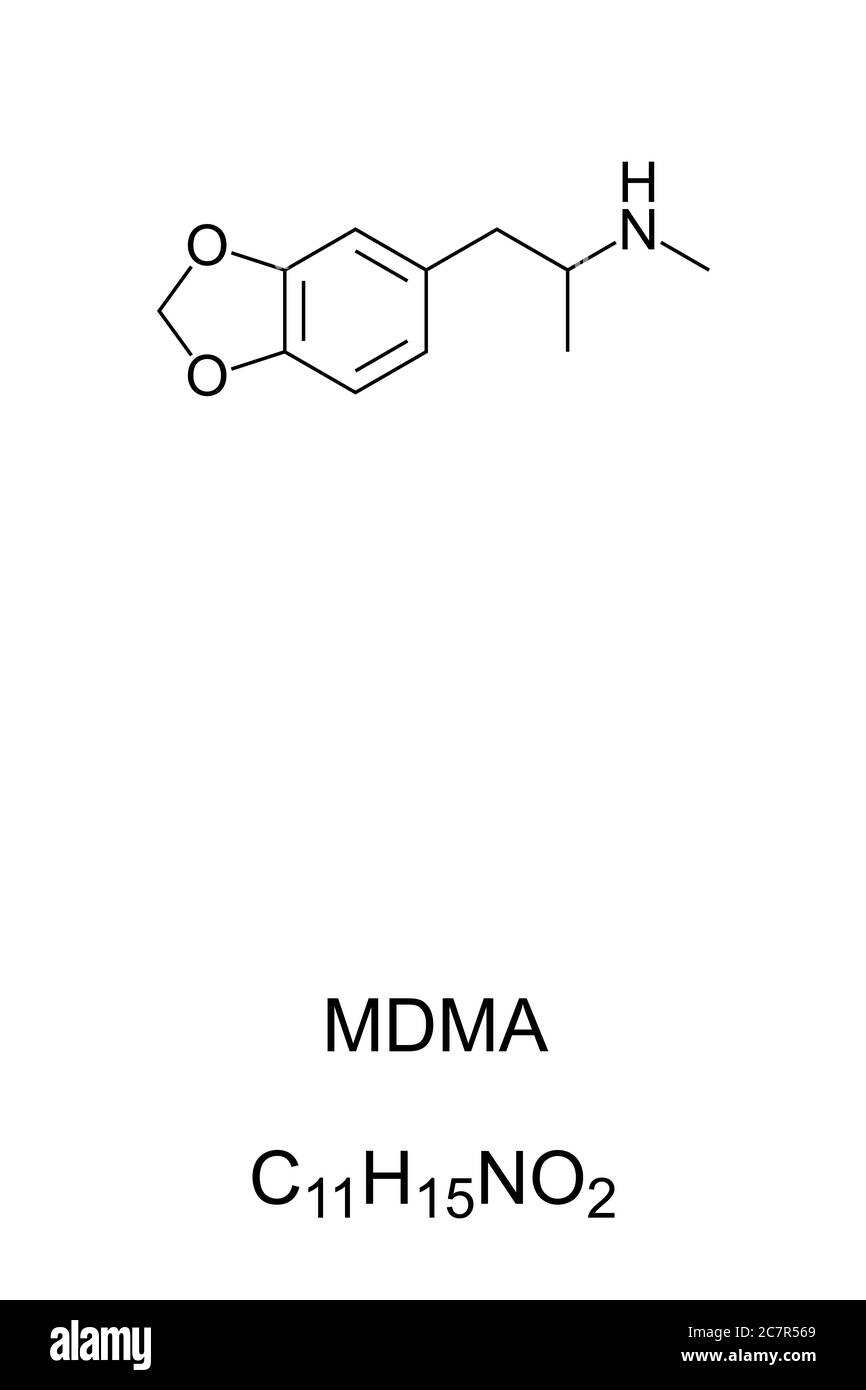 MDMA, ecstasy, E ou molly, structure chimique et formule. Drogue psychoactive illégale utilisée à des fins récréatives, mais avec de mauvais effets indésirables. Banque D'Images