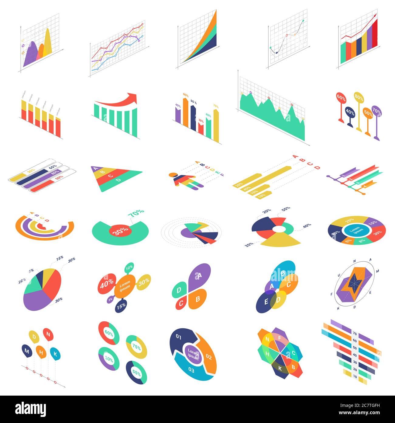 Flat 3d Isométrique éléments graphiques icônes graphiques graphiques ensemble pour la présentation de l'entreprise financière. Diagrammes de statistiques de données illustration vectorielle d'infographies Illustration de Vecteur