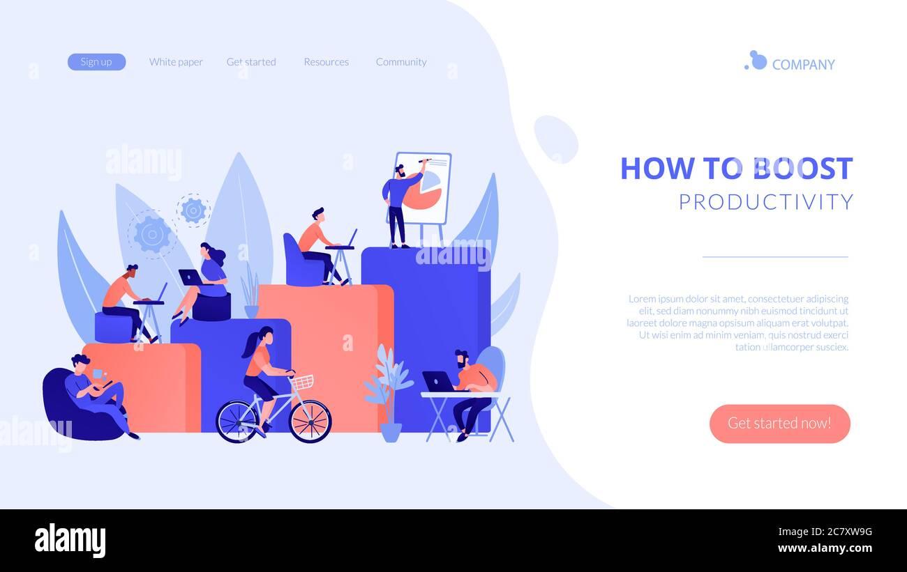 Page d'accueil du concept de lieu de travail moderne Illustration de Vecteur