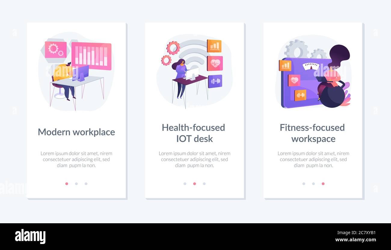 Modèle d'interface d'application pour le futur espace de travail. Illustration de Vecteur