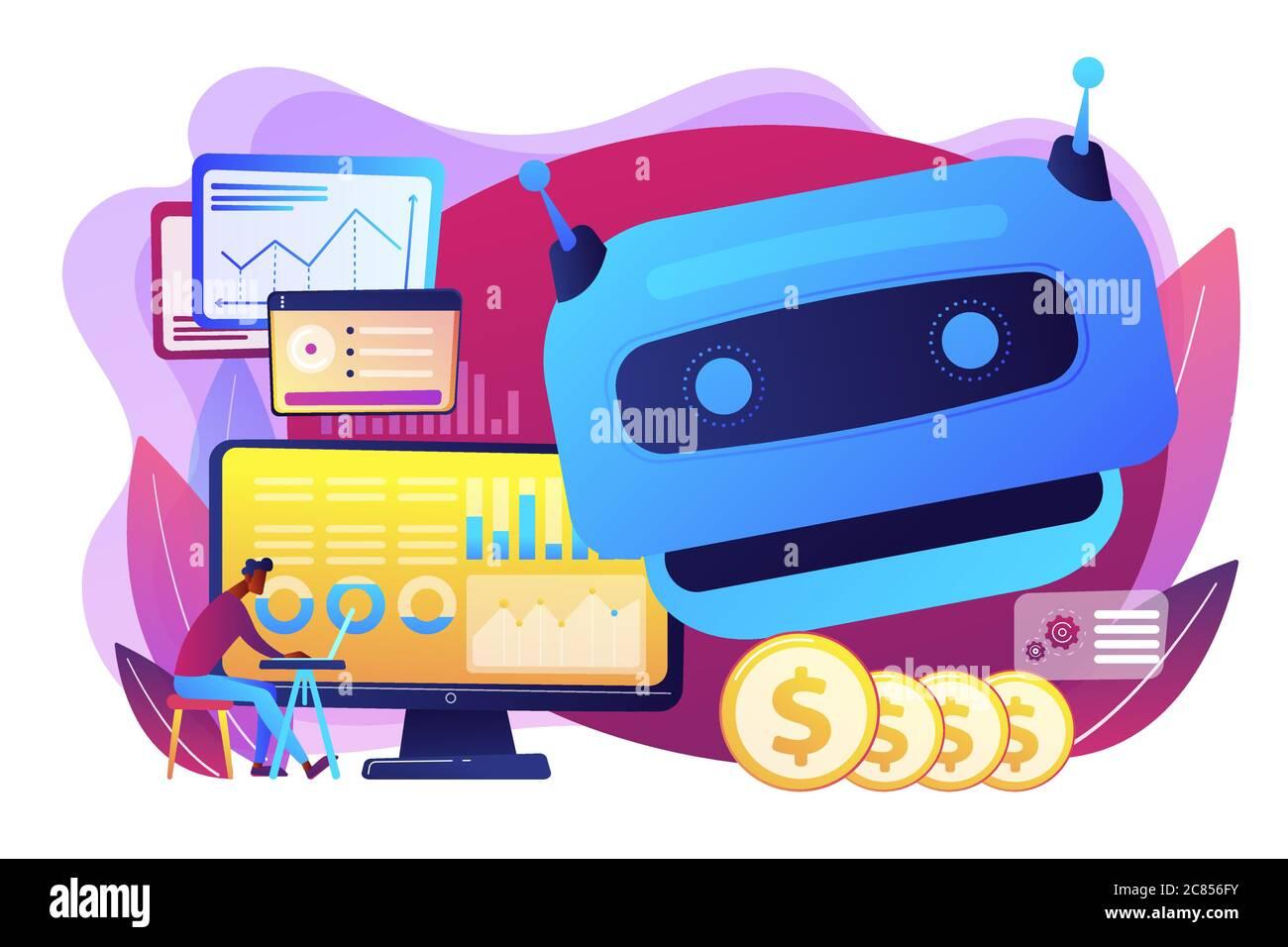 Illustration du vecteur de concept de l'intelligence artificielle dans le financement Illustration de Vecteur