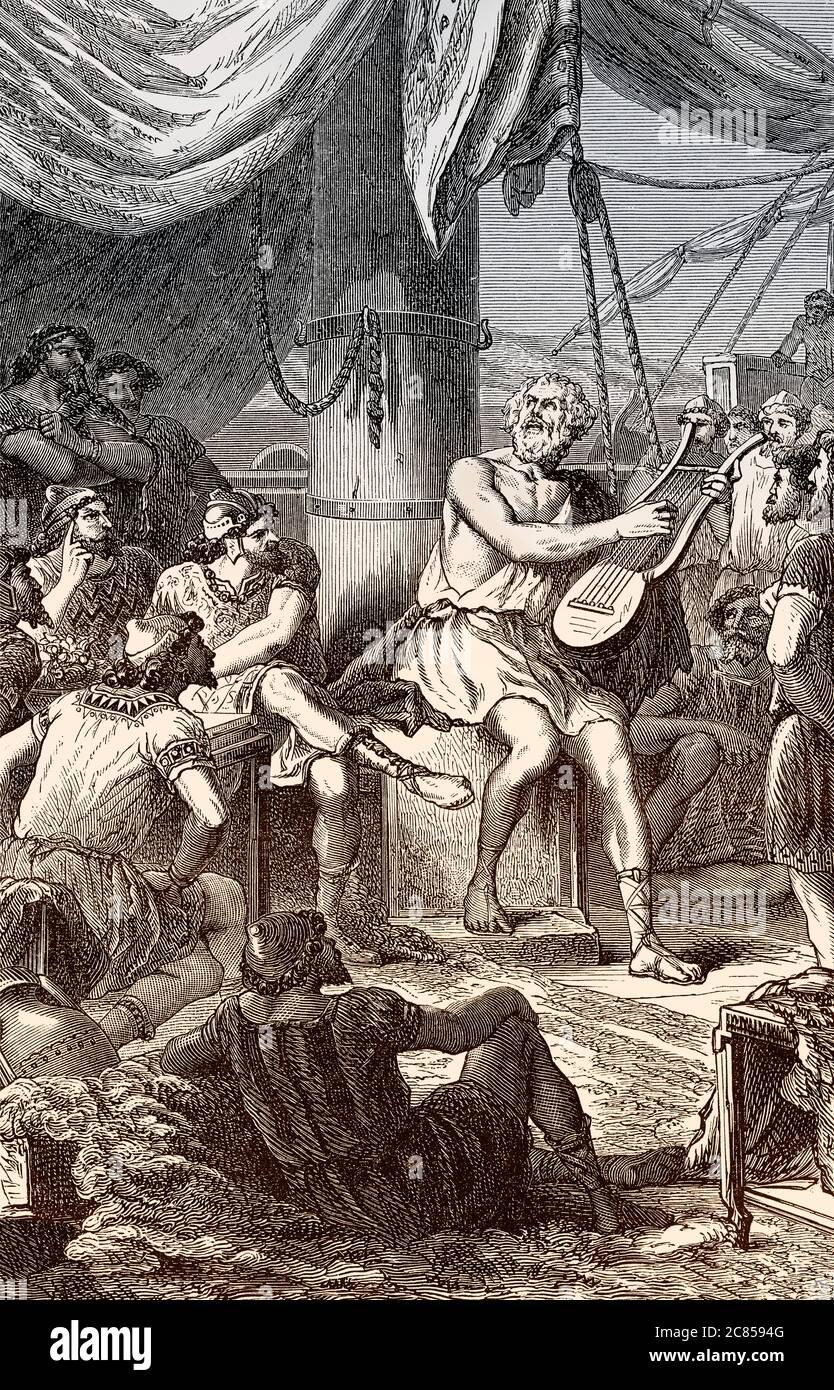 Homer chantant ses poèmes pour le peuple, auteur grec légendaire, Grèce antique Banque D'Images
