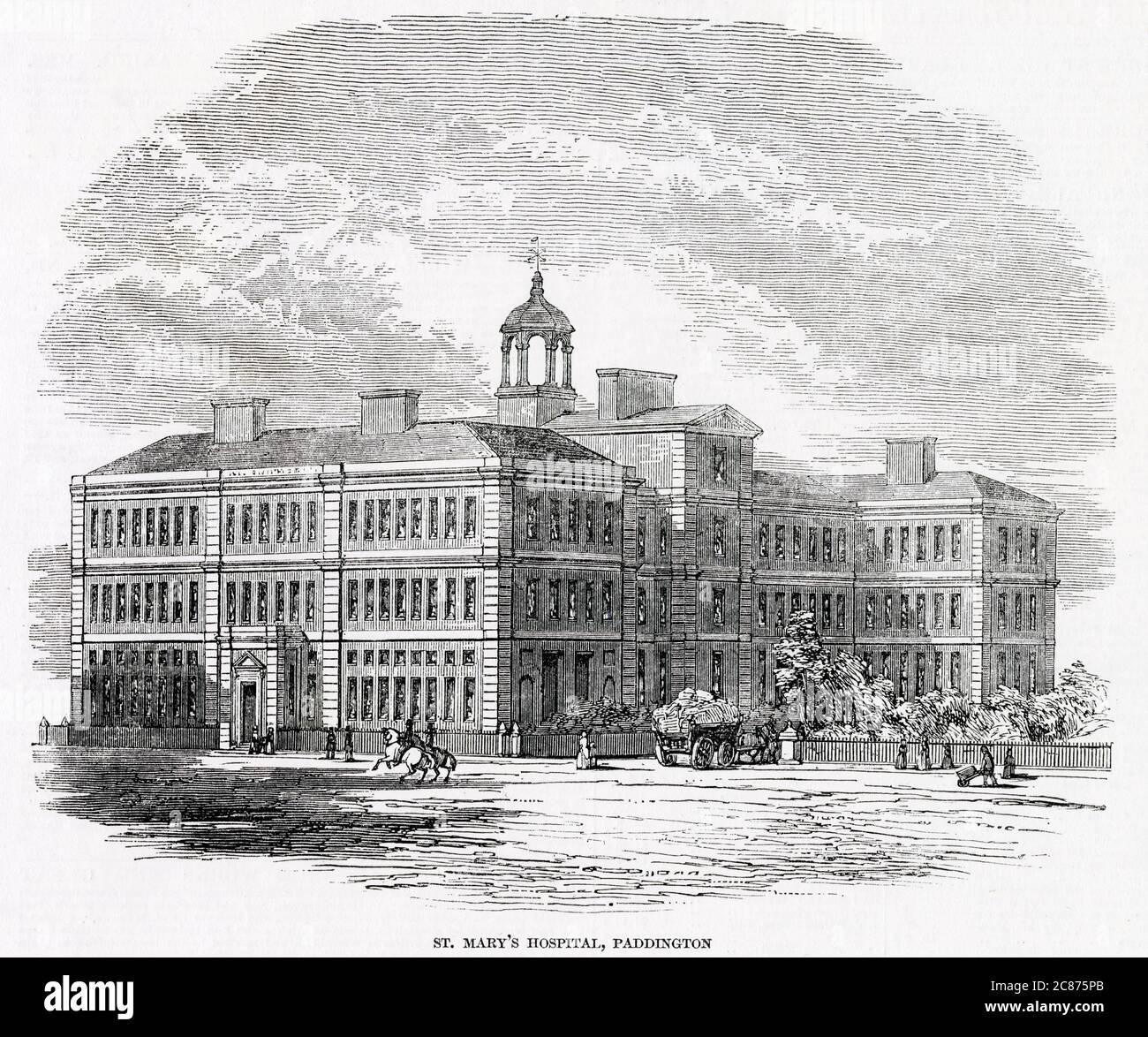 Hôpital St Mary Paddington Date: 1847 Banque D'Images