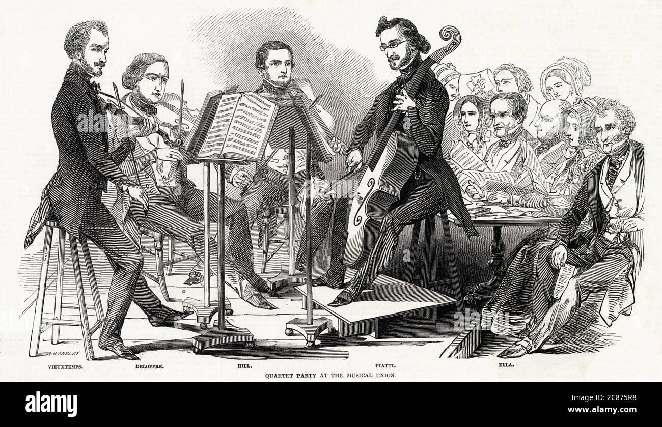 QUARTET UN quatuor à cordes à l'Union musicale. Date: 1846 Banque D'Images