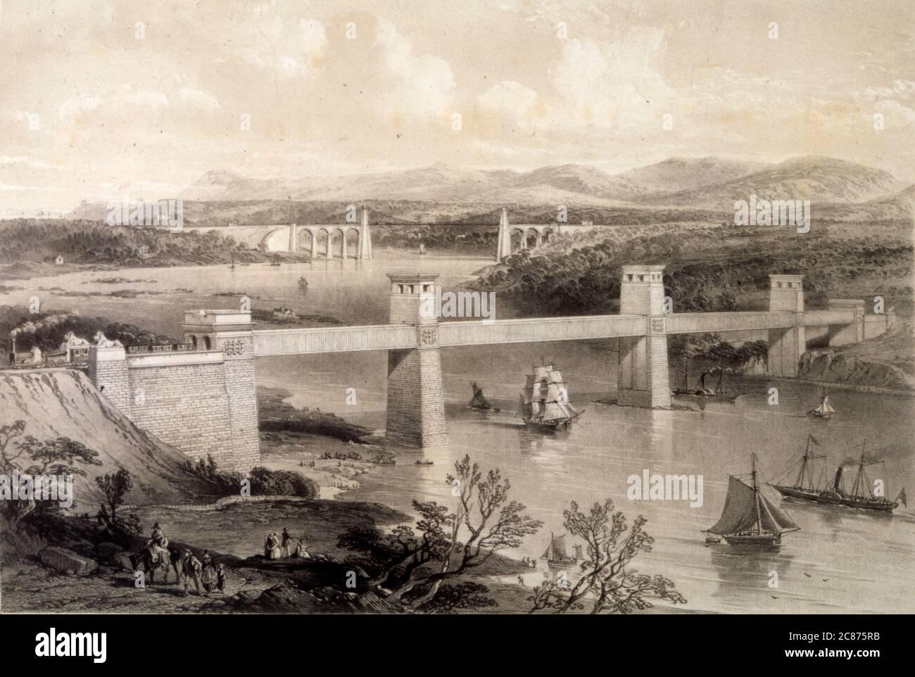 Navires passant sous la suspension de Menai et le pont tubulaire construit par Thomas Telford, ouvert en janvier 1826. Date: 1852 Banque D'Images