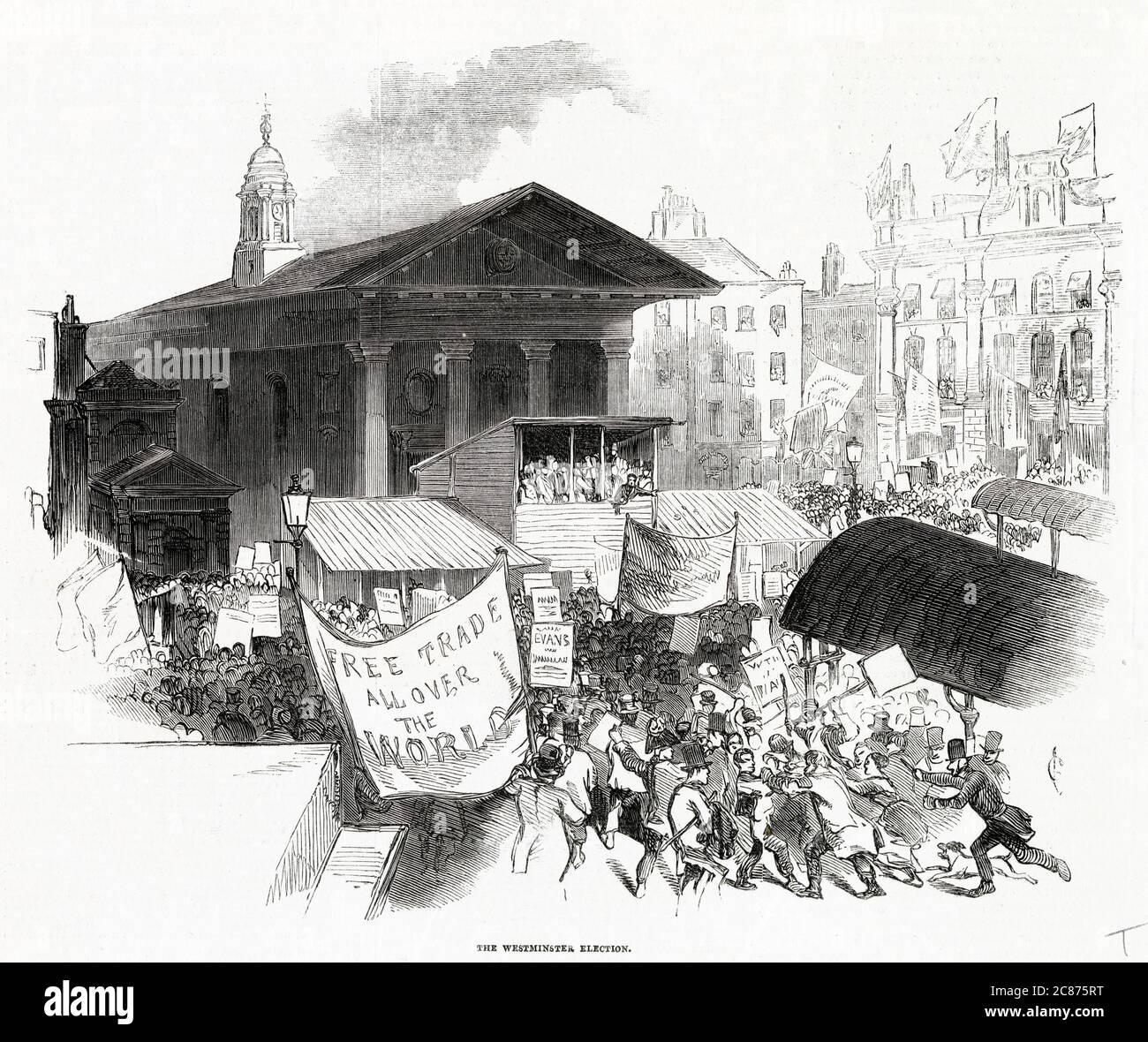 L'élection de Westminster, où le libre-échange est le principal numéro Date : 1846 Banque D'Images