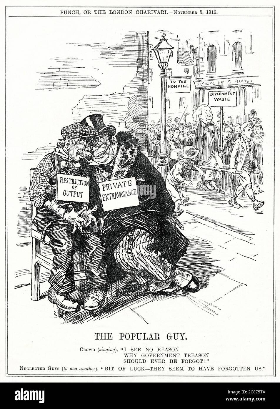"""Caricature, le populaire Guy (Lloyd George): """"Je ne vois aucune raison pour que la trahison du gouvernement soit jamais oubliée!"""" Date: 1919 Banque D'Images"""