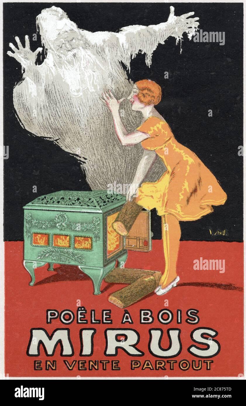 Affiche pour LE poêle À bois MIRUS, qui, si vous êtes assez sage pour en acheter un, vous donnera le droit de pouce votre nez à Jack Frost Date: 1923 Banque D'Images