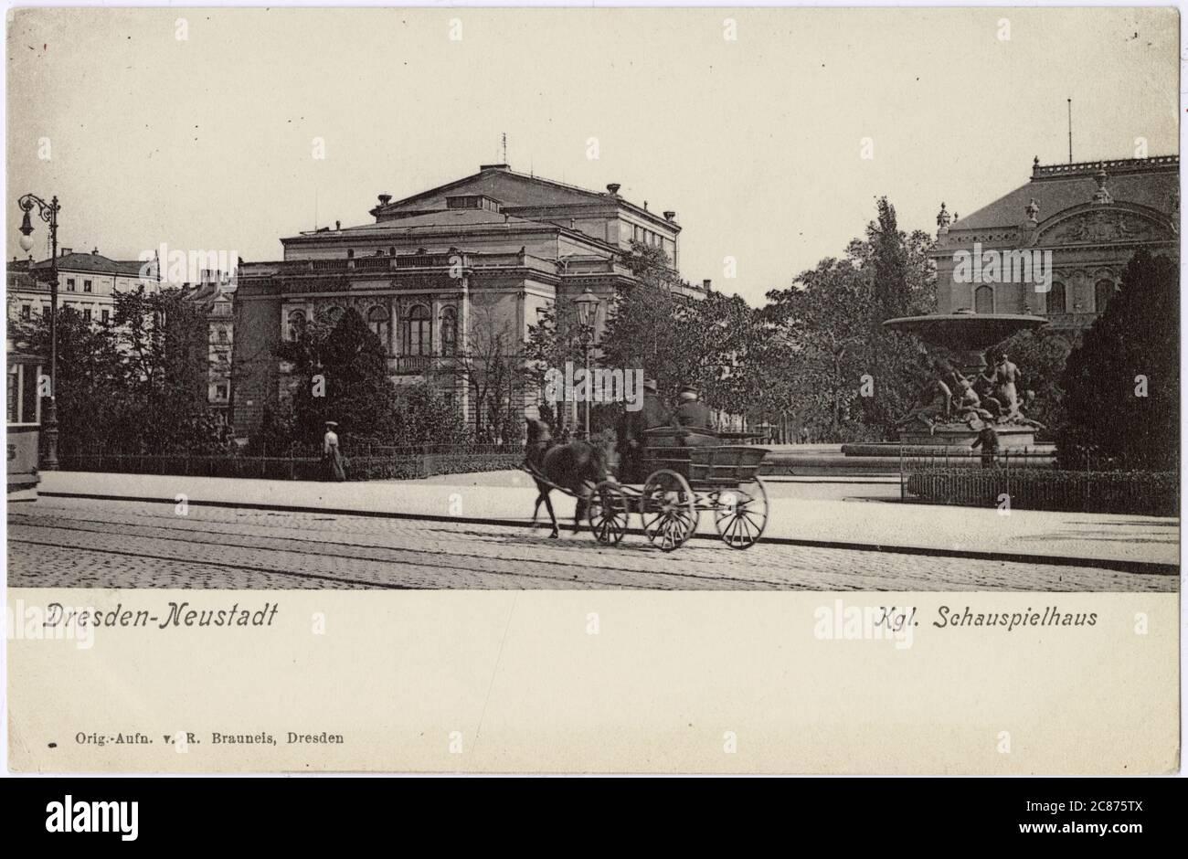 Dresde : le Konigliche Schauspielhaus Date : vers 1900 Banque D'Images