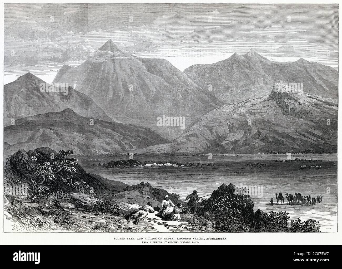 Bodeen Peak et le village de Madzai, dans la vallée du Kurram. Date: 1878 Banque D'Images
