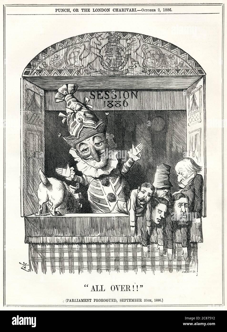 Caricature, partout !! Les députés britanniques représentés comme des marionnettes à gants, écartés par M. Punch le marionnetmaster alors que la session parlementaire de 1886 prend fin. Date: 1886 Banque D'Images