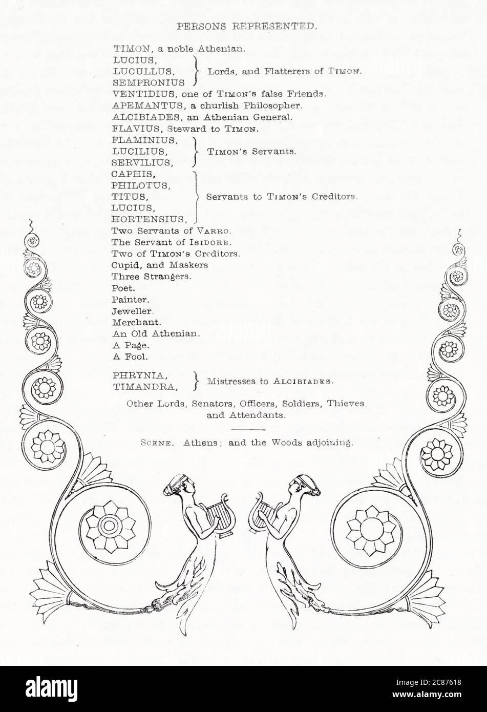Illustration de Kenny Meadows à Timon d'Athènes, par William Shakespeare. Liste de distribution, avec design décoratif. Date: 1840 Banque D'Images