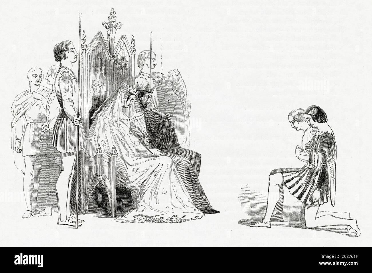 Illustration de Kenny Meadows à Hamlet, Prince du Danemark, par William Shakespeare. Le roi Claudius et la reine Gertrude, assis sur leurs trônes, accueillent les amis de Hamlet Rosentrantz et Guildenstern, et leur demandent de découvrir pourquoi Hamlet se comporte si bizarrement. Date: 1840 Banque D'Images