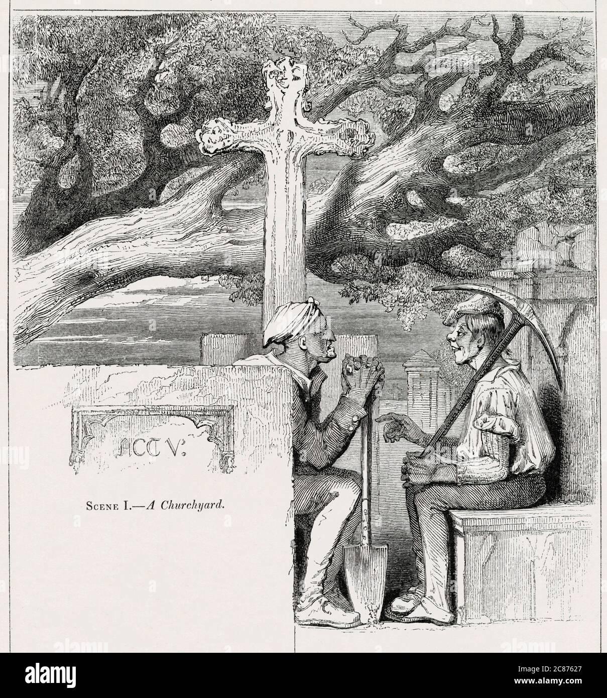 Illustration de Kenny Meadows à Hamlet, Prince du Danemark, par William Shakespeare. Deux gravediggers dans le chantier de la choucerie, prenant une pause de creuser la tombe d'Ophelia. Date: 1840 Banque D'Images