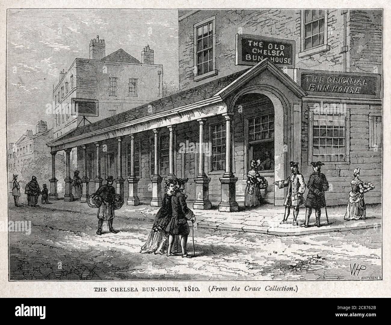 The Chelsea Bun House en 1810, auteur du Chelsea Bun et condescendant par la royauté hanobienne, Kings George II et III Le magasin était sur la route principale de Pimlico à Chelsea. Date: 1810 Banque D'Images