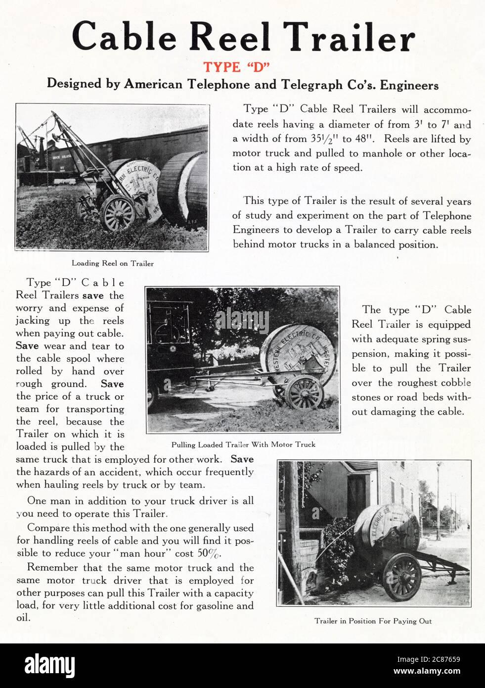 Trois remorques à bobines de câble de type D, conçues par les ingénieurs d'American Telephone and Telegraph Company. Chargement du rabatteur sur la remorque, traction de la remorque chargée avec le camion à moteur et la remorque en position pour le paiement. Date : début des années 1920 Banque D'Images