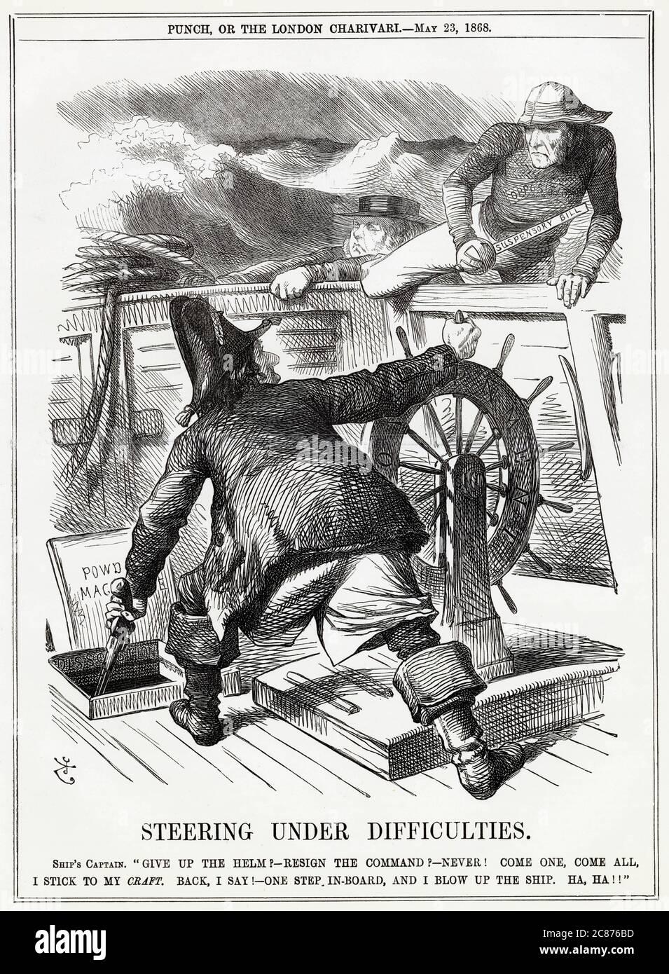 Caricature, Steering Under Displainces -- un commentaire satirique sur la réaction de Disraeli au projet de loi suspensif de l'Église irlandaise de Gladstone, qui a été porté contre le gouvernement conservateur à une large majorité. Disraeli, en tant que capitaine, menace de faire sauter le navire, plutôt que de permettre à Gladstone et Bright de prendre la barre. La loi, qui est entrée en vigueur l'année suivante, séparait l'Église d'Irlande de l'Église d'Angleterre et signifiait que l'Église d'Irlande n'était plus en droit de collecter des dîmes du peuple irlandais. Une loi controversée, elle a aidé à démanteler l'Ascen protestant Banque D'Images