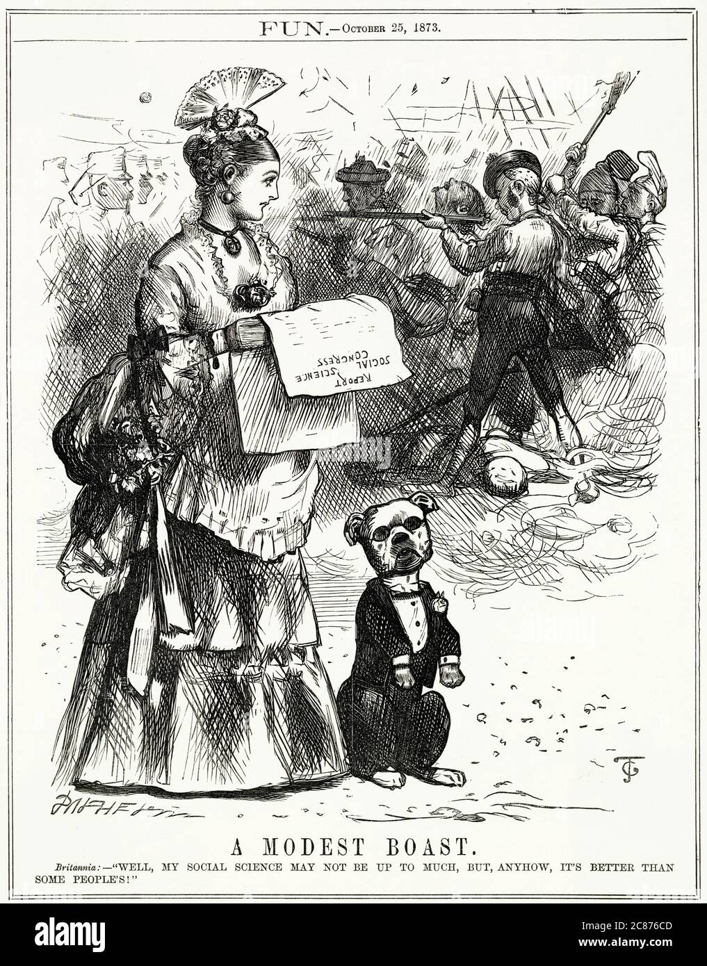 Caricature, UNE modeste fierté -- Britannia lit le rapport d'un récent Congrès des sciences sociales, et pense que sa compréhension du sujet est meilleure que celle de certains, en gardant à l'esprit les guerres et les conflits qui se produisent dans divers pays. Le Congrès des sciences sociales a été tenu chaque année par l'Association des sciences sociales, une organisation réformiste fondée en 1857. Date: 1873 Banque D'Images