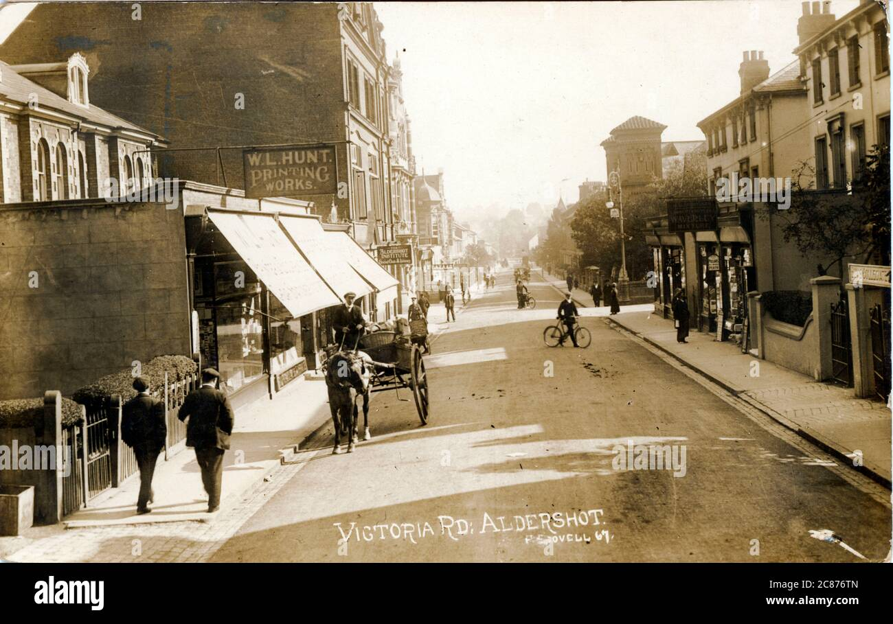 Victoria Road, Aldershot, Rushmoor, Hampshire, Angleterre. 1915 Banque D'Images