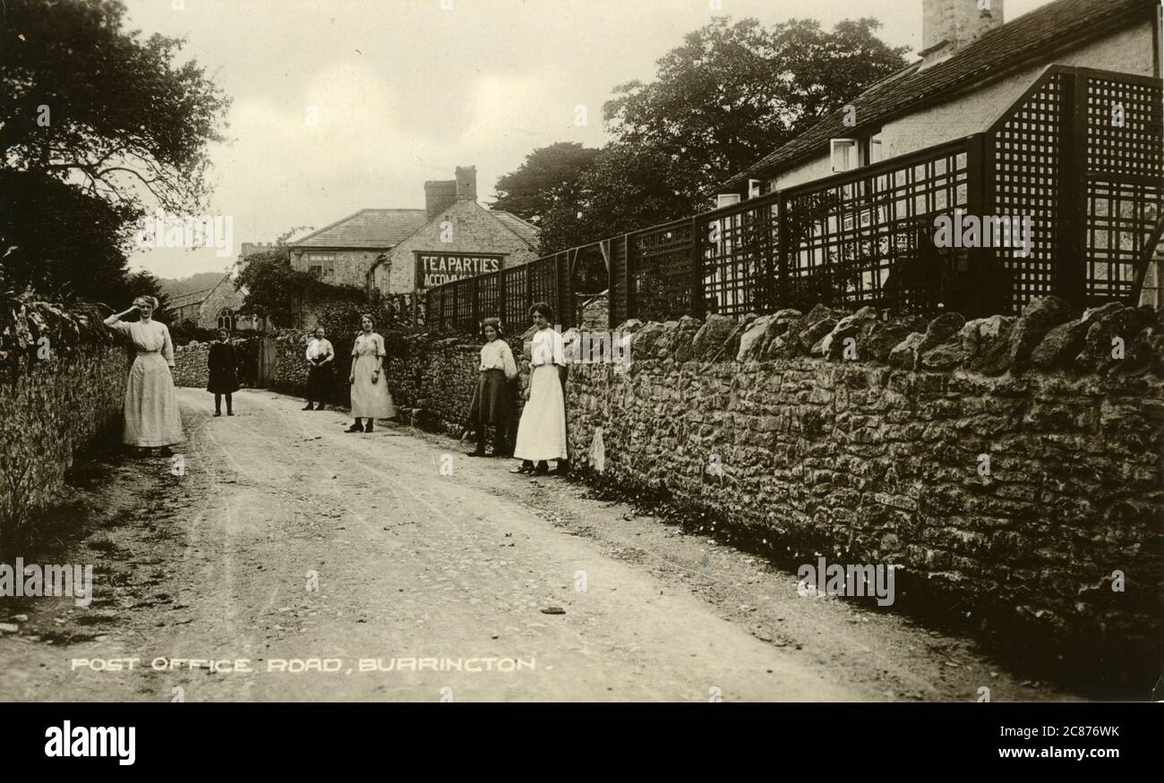 Tea Room and Ladies, Post Office Road, Burrington, Cheddar, Mendip Hills, Somerset, Angleterre. 1910s Banque D'Images