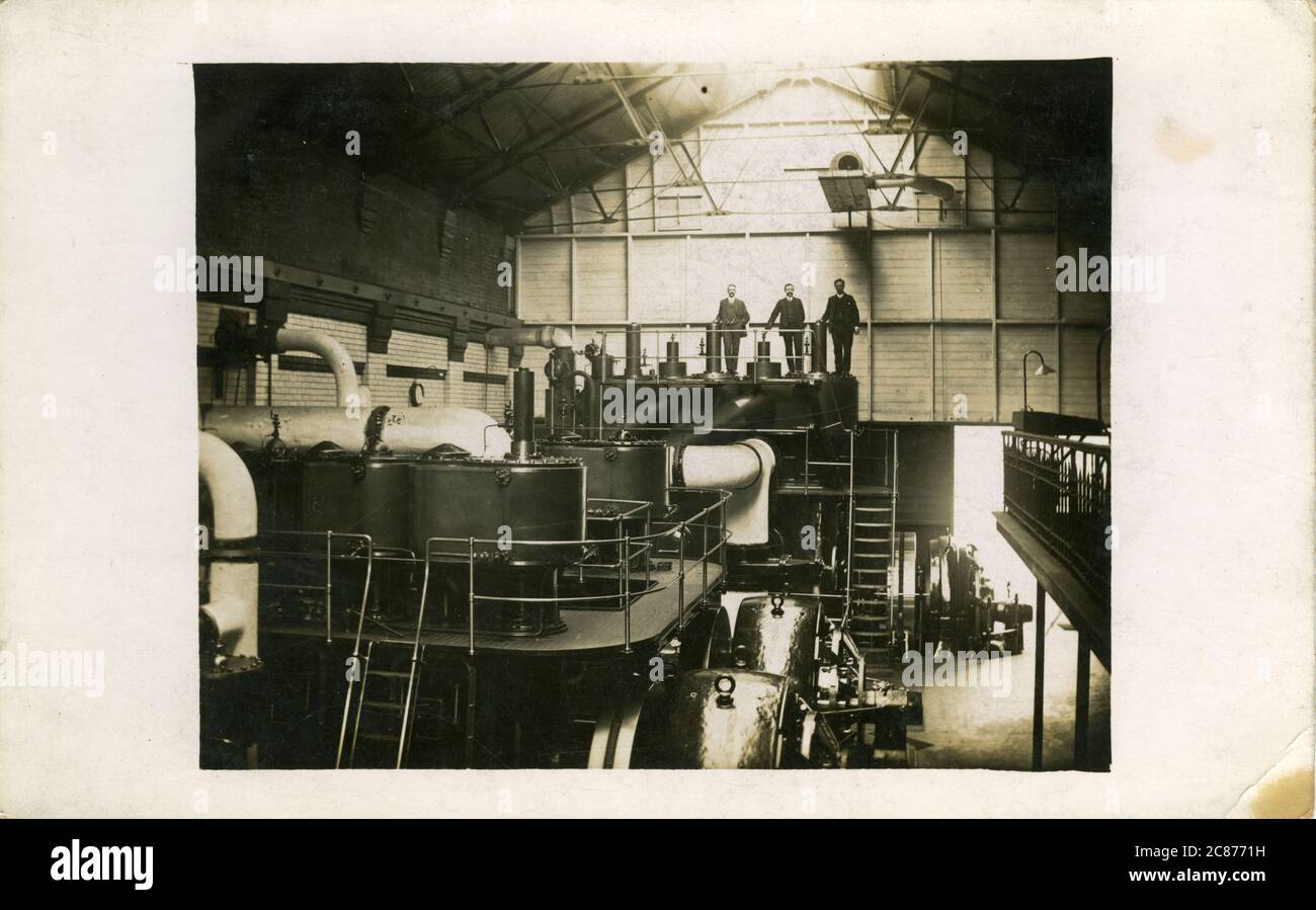 Industrial turbine Hall, Edwardian Electricity Generator, Angleterre. Banque D'Images