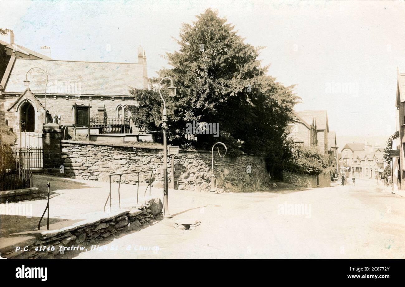 The Village, Trefriw, Llanrwst, Caernarvonshire, pays de Galles. 1910s Banque D'Images
