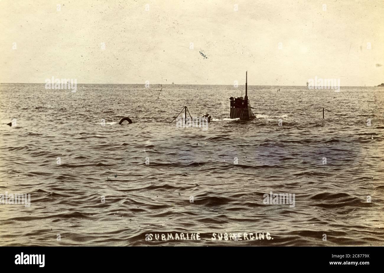 Probablement un sous-marin Holland Submerge, Angleterre. Banque D'Images
