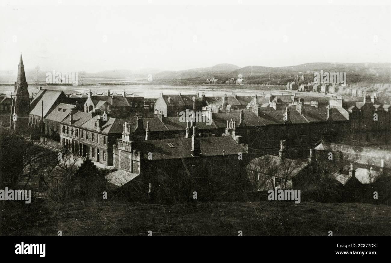Vue générale depuis Castle Hill, Ardrossan, Saltcoats, Ayrshire, Écosse. Banque D'Images