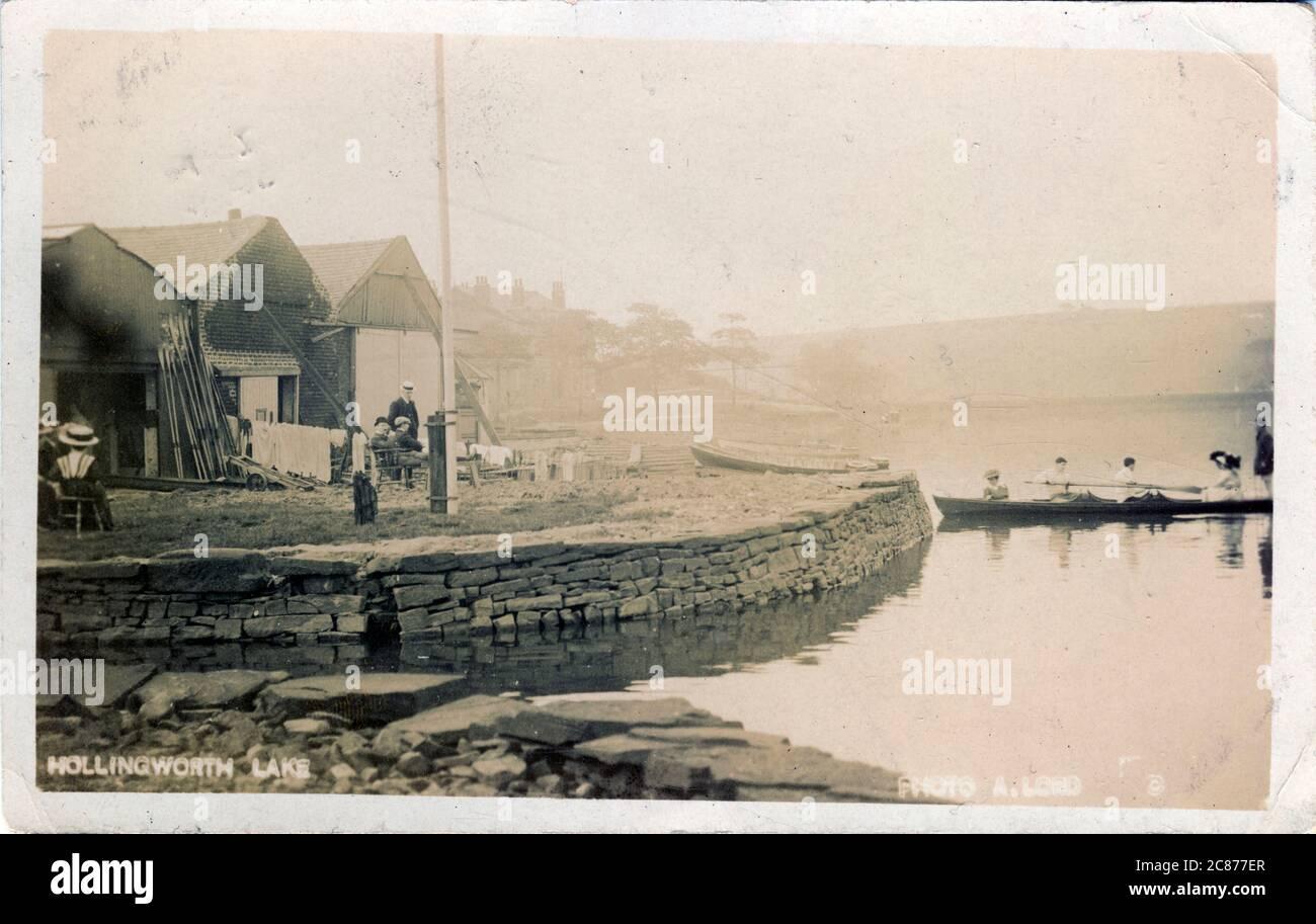 Les huttes, Hollingworth Lake, Littleborough, Rochdale, Lancashire, Angleterre. Banque D'Images
