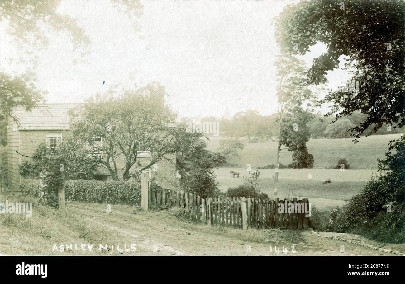 Ashley Mills, Ashley, Altrincham, Manchester, River Bollin, Lancashire, Angleterre. Banque D'Images