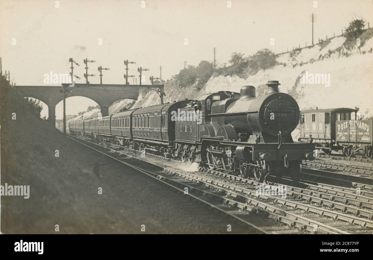 LMS 4-4-0 locomotive composée 1114 (montrant les Rose Richards de Swansea wagon), Grande-Bretagne. Banque D'Images