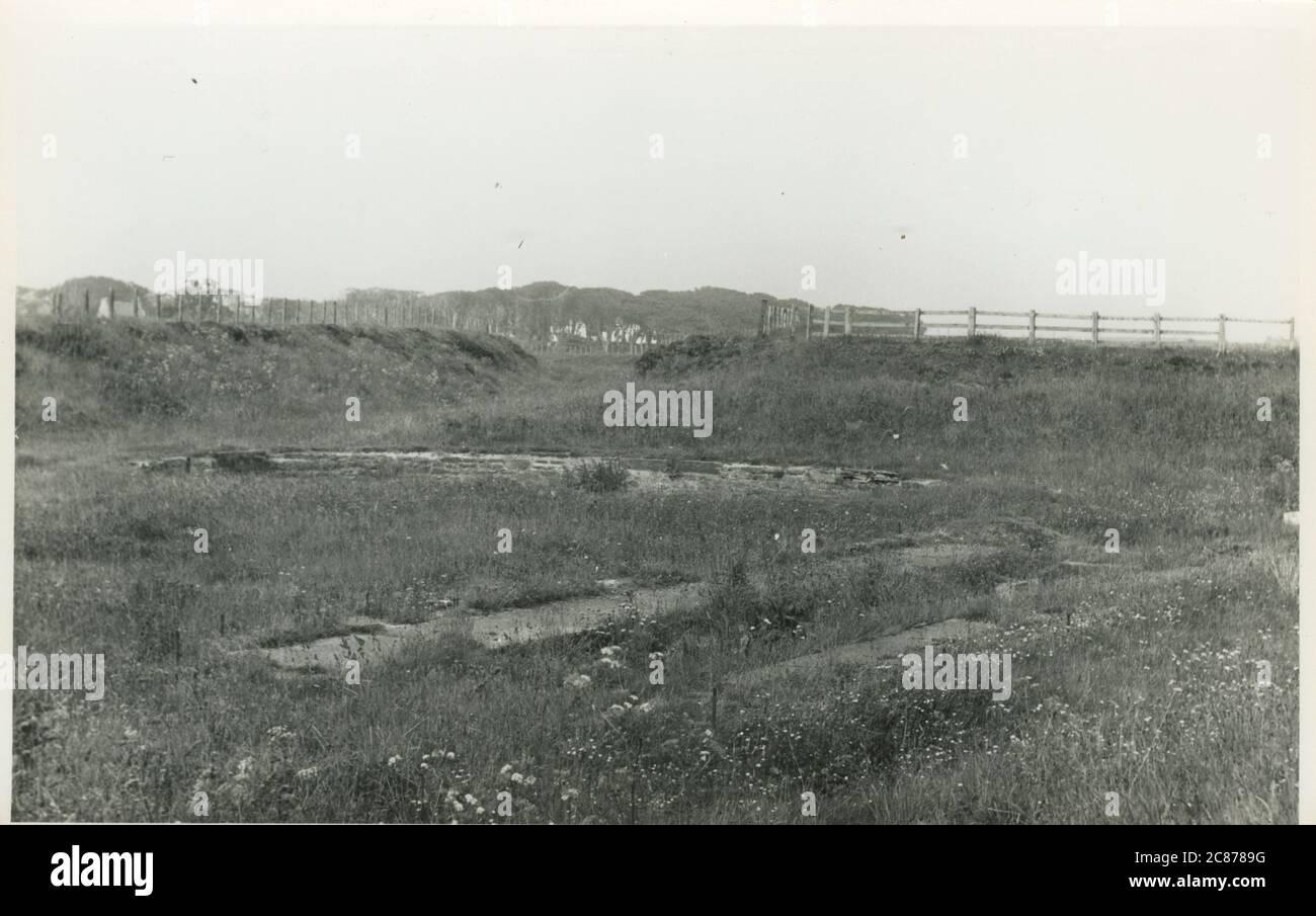 Site de l'ancien bâtiment ferroviaire - (Wick & Lybster Light Railway), Lybster, Caithness, Écosse. Date: 1970 Banque D'Images