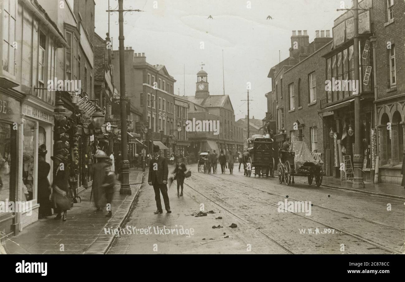 High Street, Uxbridge, Hillingdon, Londres, Angleterre. Date: 1915 Banque D'Images