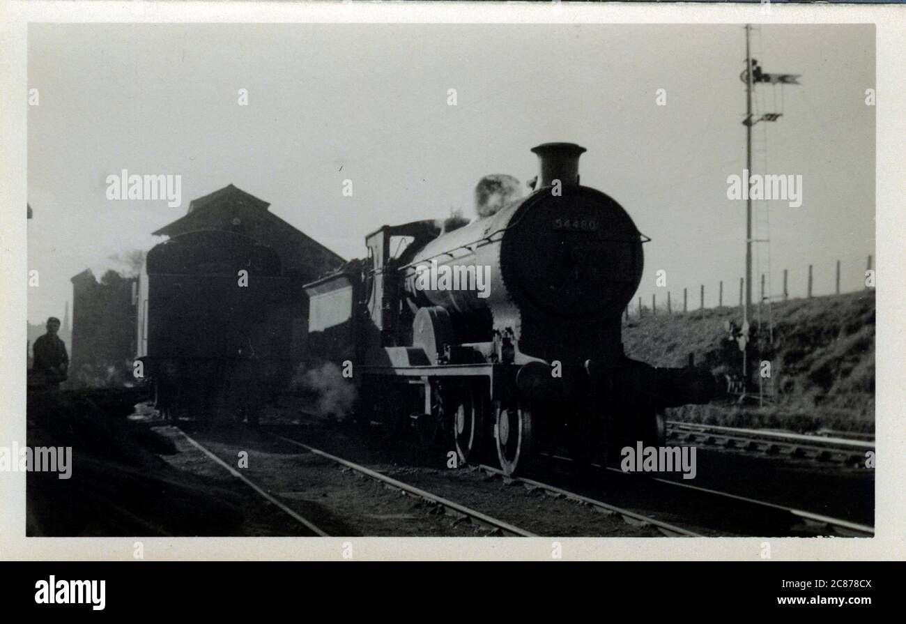 Train Engine Shed, Tain, Ross & Cromarty, Écosse. Date: 1952 Banque D'Images