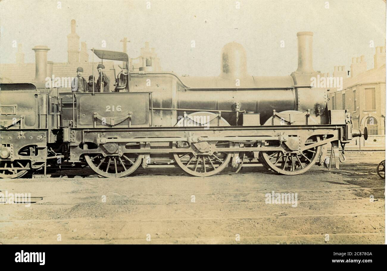 Locomotive ferroviaire n° 216 (MS&LR) - (Manchester, Sheffield et Lincolnshire Railway), Angleterre. Date : 1900s Banque D'Images