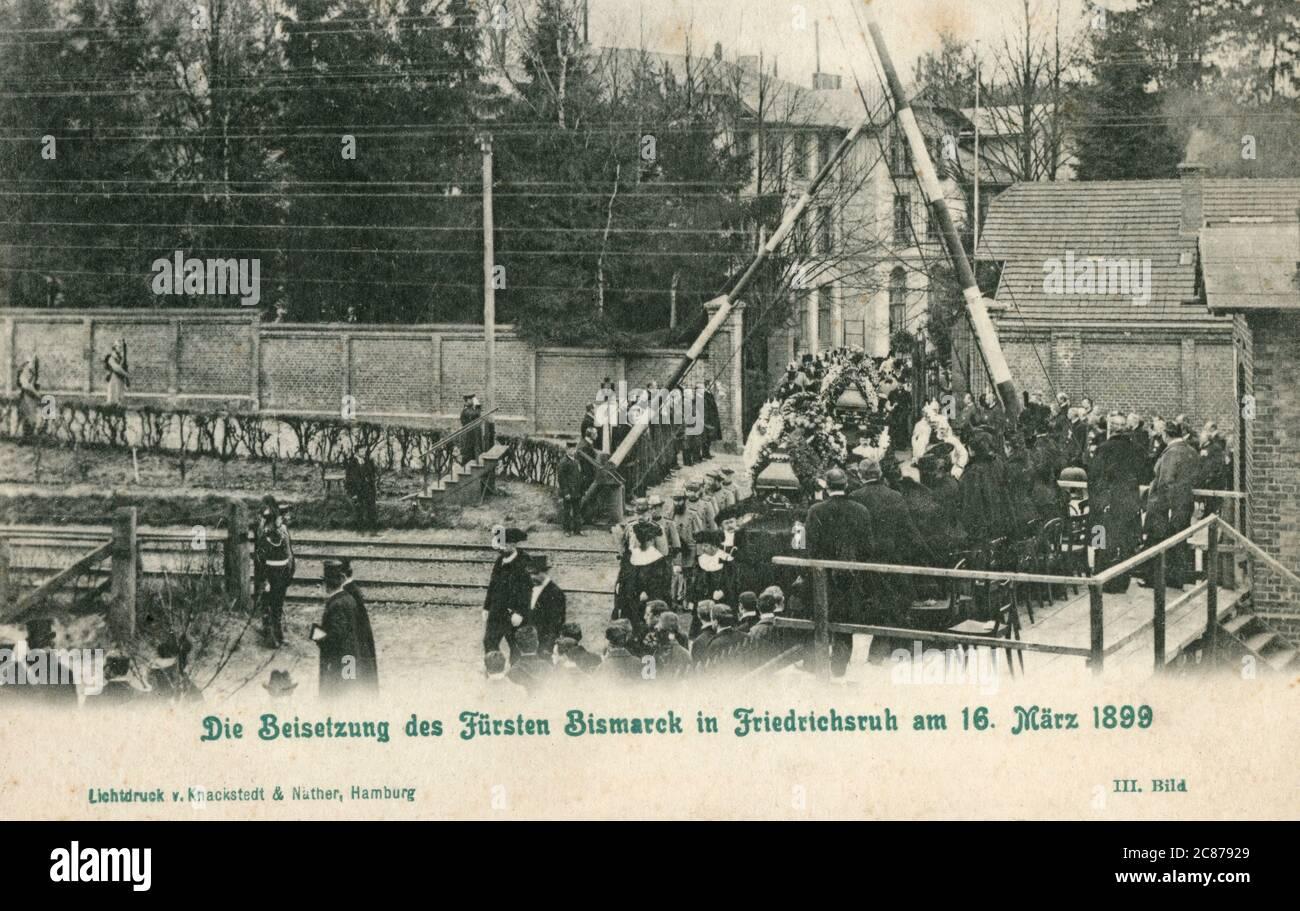 Funérailles du prince Bismarck à Friedrichsruch, un district de la municipalité d'Aumuhle, district d'Herzogtum Lauenburg, Schleswig-Holstein, dans le nord de l'Allemagne. Le 16 mars 1899. Date: 1899 Banque D'Images