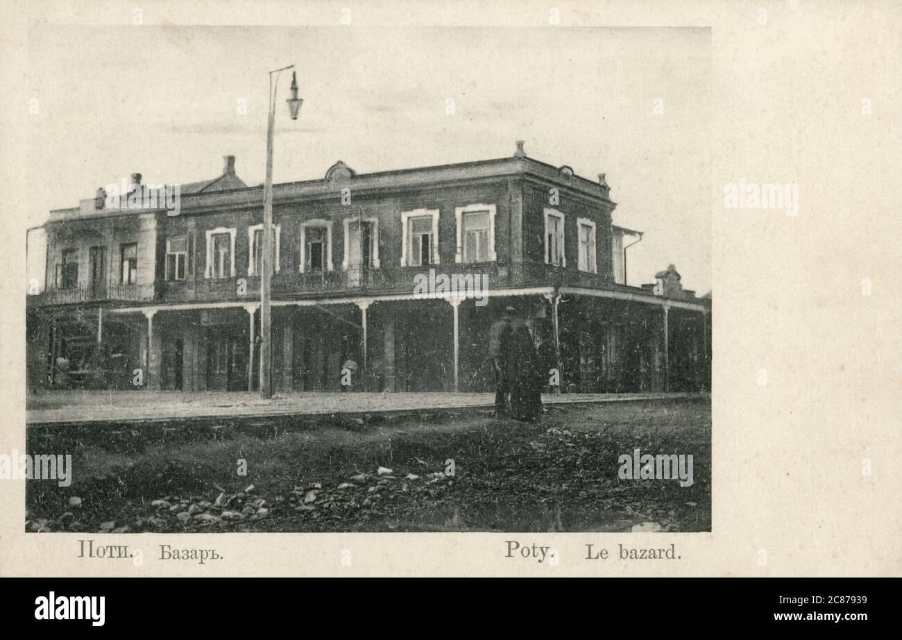 Poti, Géorgie - une ville portuaire, située sur la côte est de la mer Noire dans la région de Samegrelo-Zemo Svaneti à l'ouest du pays - le Bazar. Date: Vers 1910 Banque D'Images