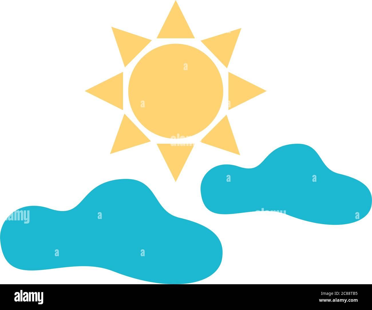motif vectoriel d'icônes de style ciel plat et soleil et nuages Illustration de Vecteur