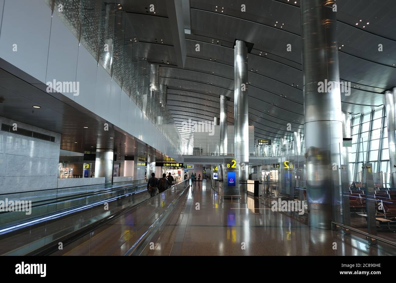 Intérieur de l'aéroport international de Hamad, à Doha Qatar, Moyen-Orient Banque D'Images