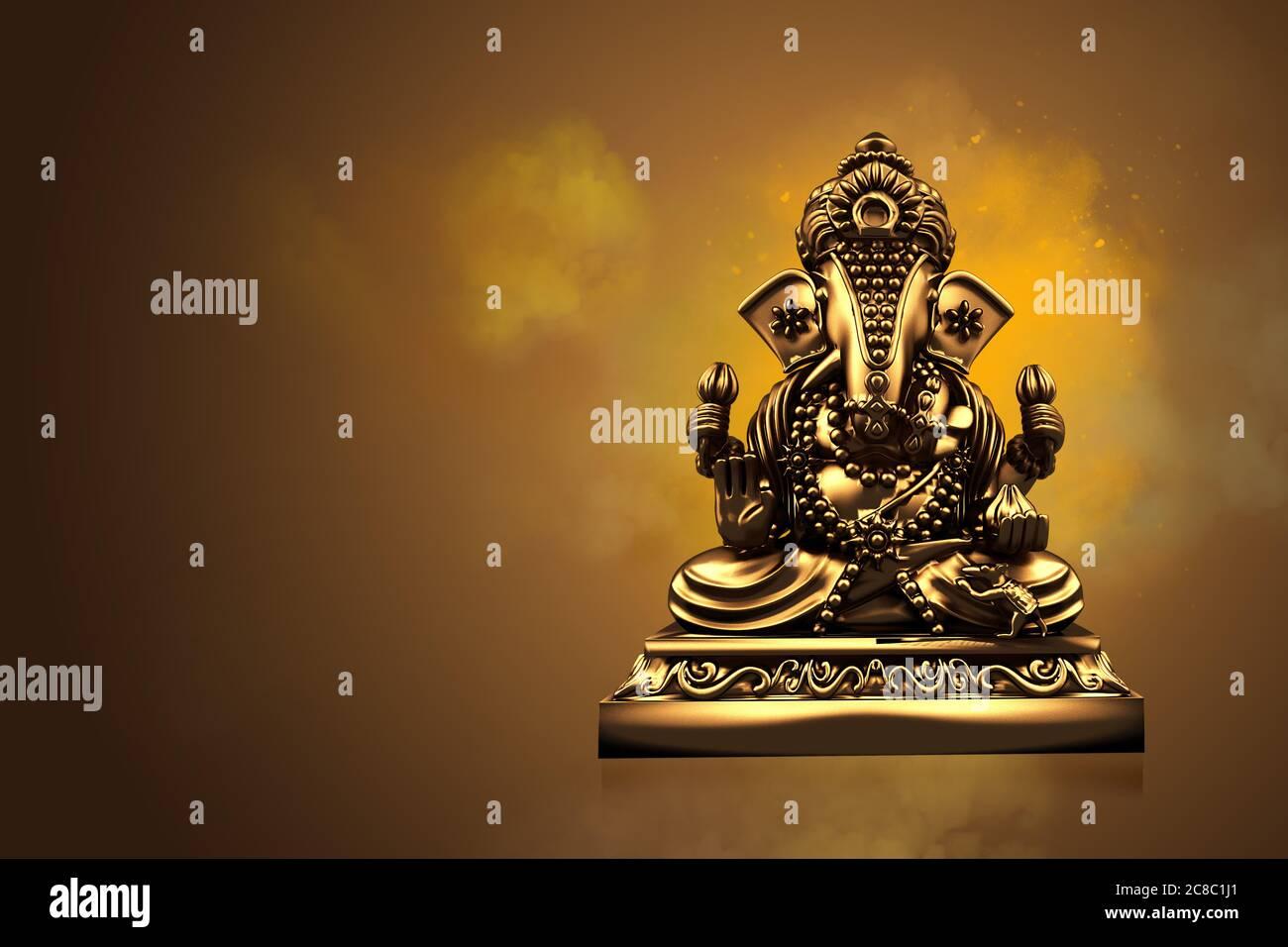 Accent sélectif sur la statue de Lord Ganesha , Festival de Ganesha. Religion hindoue et célébration indienne du concept du festival Diwali sur le ba noir, rouge, jaune Banque D'Images