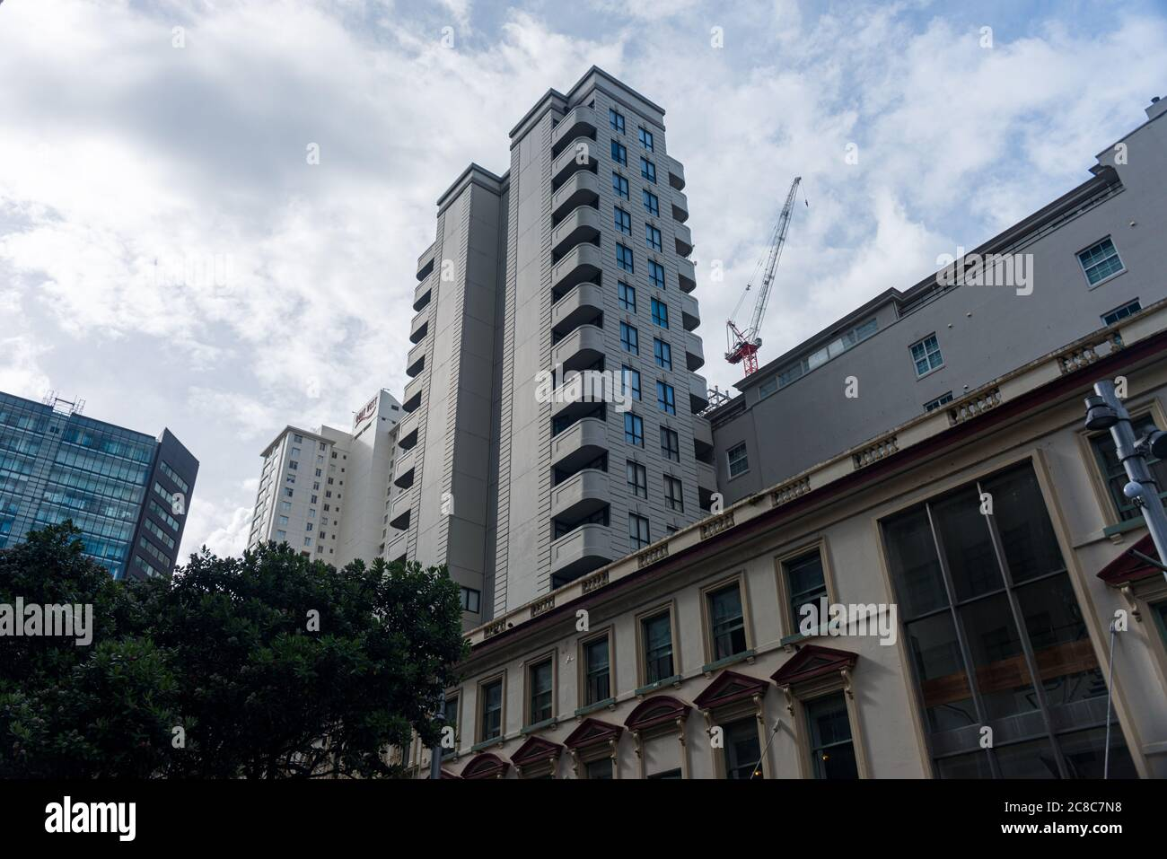 Gratte-ciels et rues du quartier des affaires d'Auckland, Nouvelle-Zélande Banque D'Images