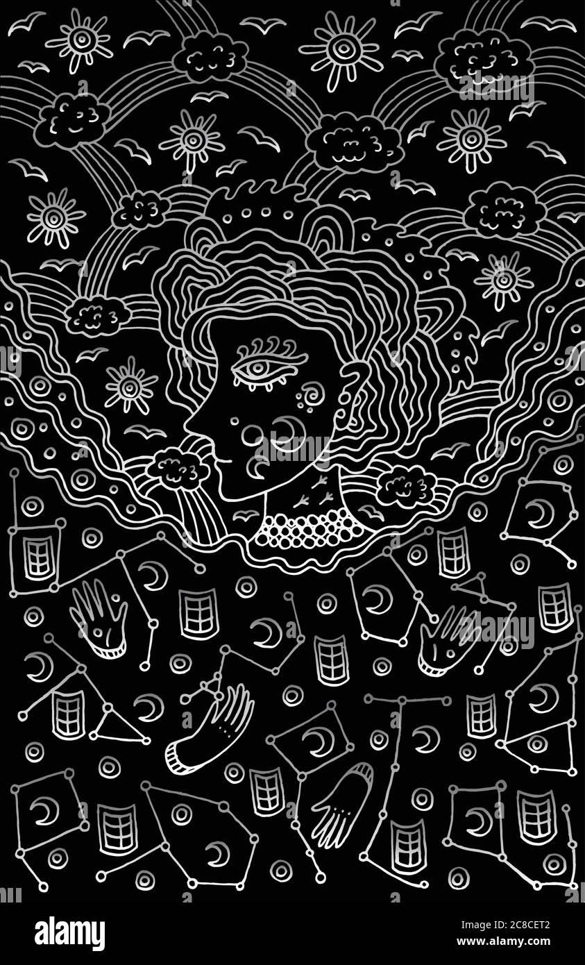 La déesse surréaliste de fille du ciel de nuit et de jour. Conte de fées tribal wom Illustration de Vecteur