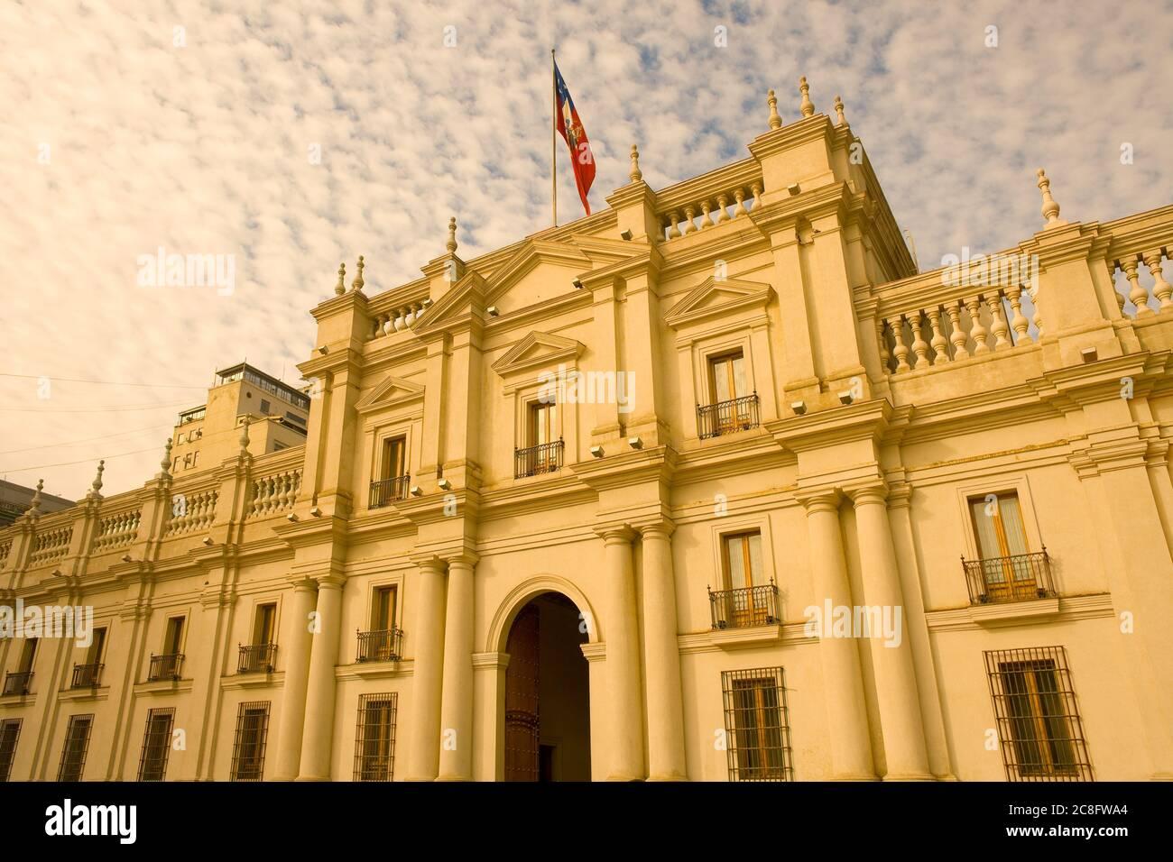 Palacio de la Moneda, ou la Moneda, palais présidentiel et gouvernemental chilien au centre-ville de Santiago du Chili Banque D'Images